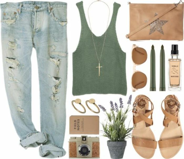Idée tenue de lycée comment s'habiller pour se sentir confortable jean déchirée