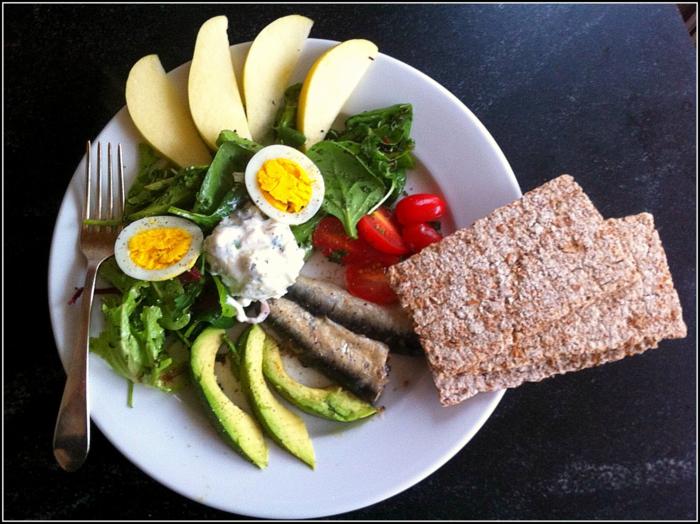 alimentation équilibrée, fourchette, oeufs, légumes, tomates cerises, pommes vertes, recette équilibrée