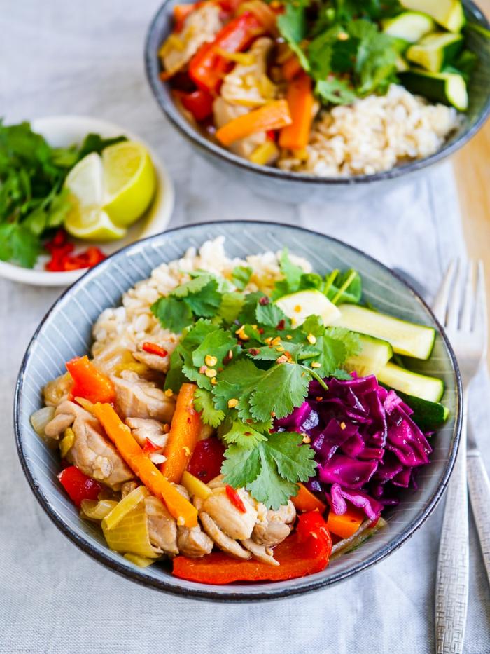 plat équilibré, carotte, légumes, chou rouge, citron, riz aux légumes, recettes rapides et équilibrées