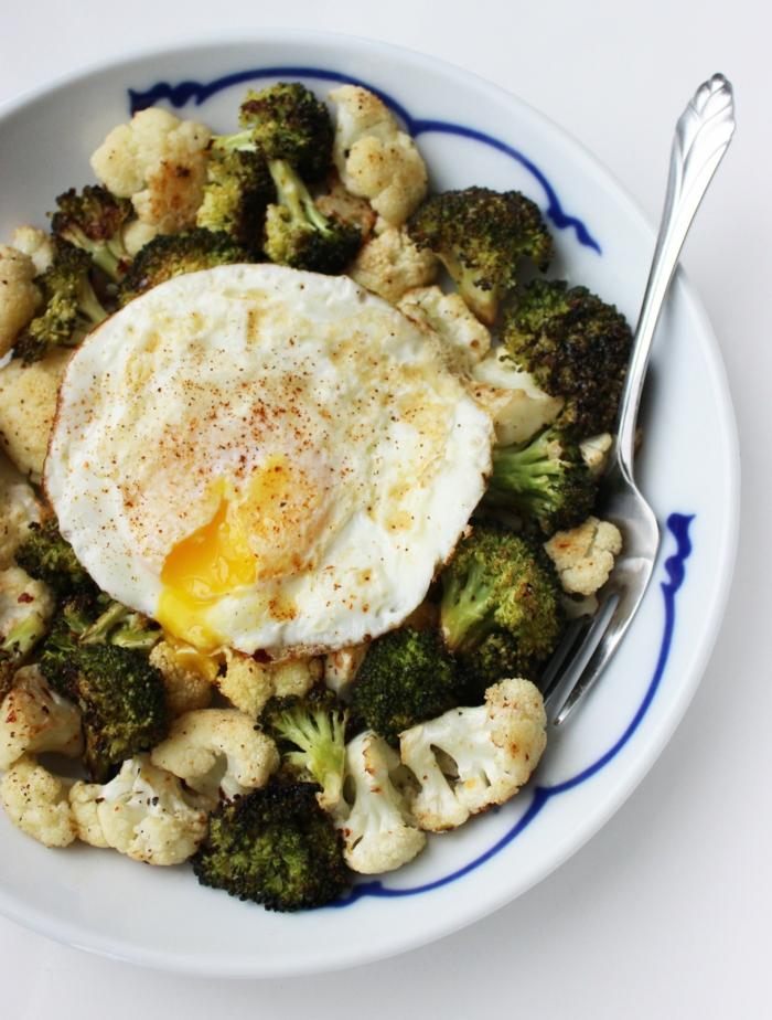 comment manger équilibré, oeufs, légumes, brocolis, fourchette, repas équilibré, assiette plate