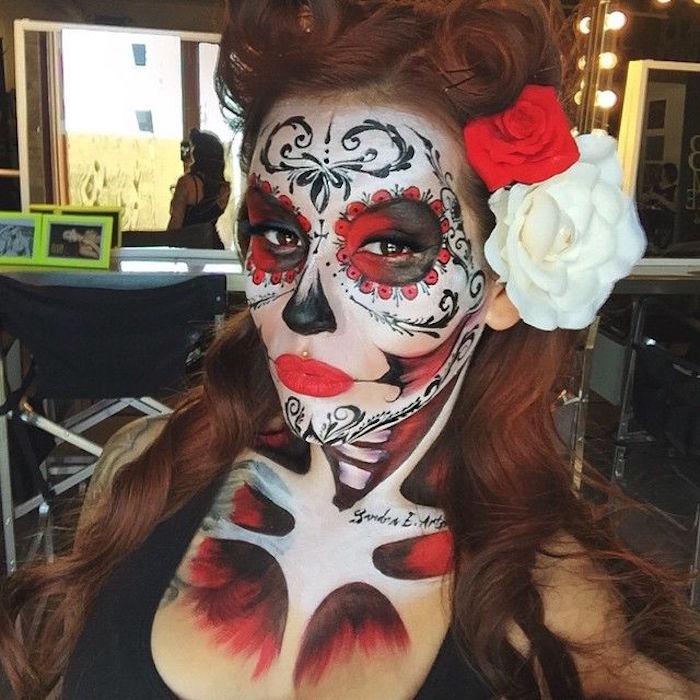 maquillage tête de mort mexicaine squelette folklore mexique