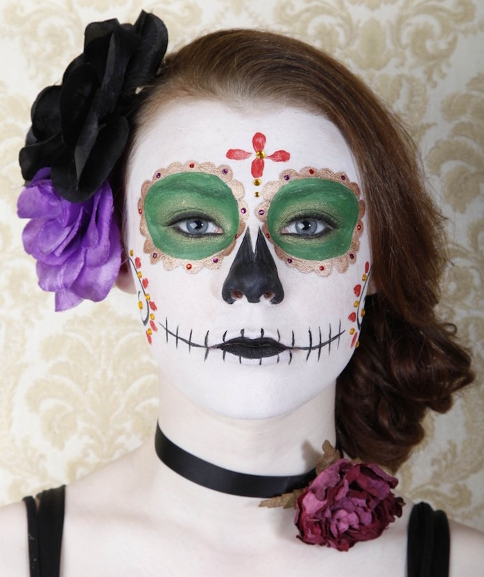Maquillage halloween femme squelette mexicain simple - Maquillage mexicain facile ...