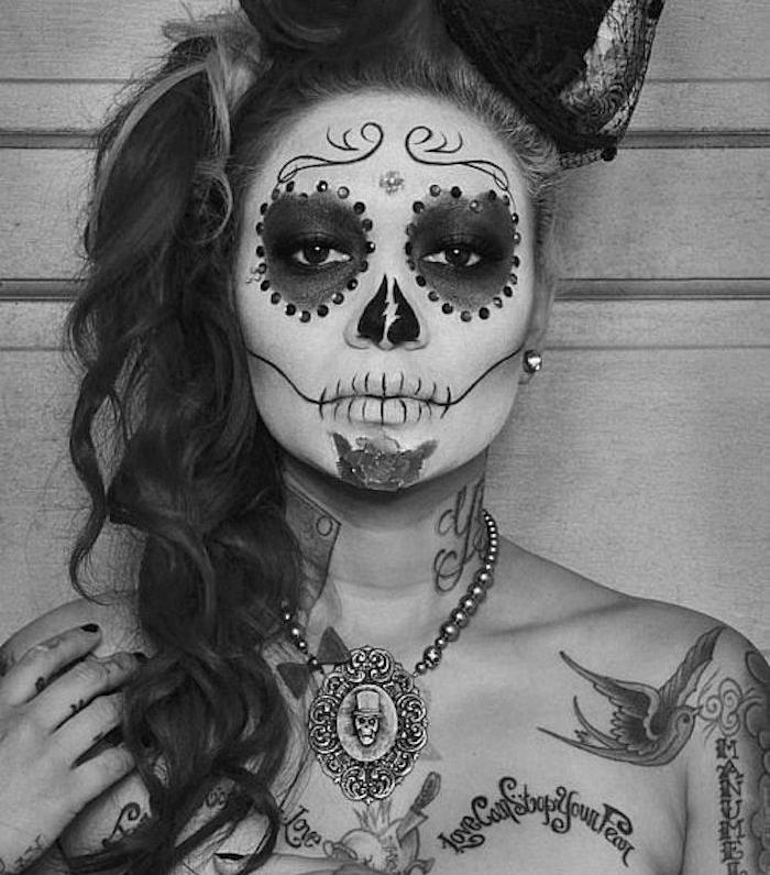 deguisement mexicain maquillage halloween squelette femme