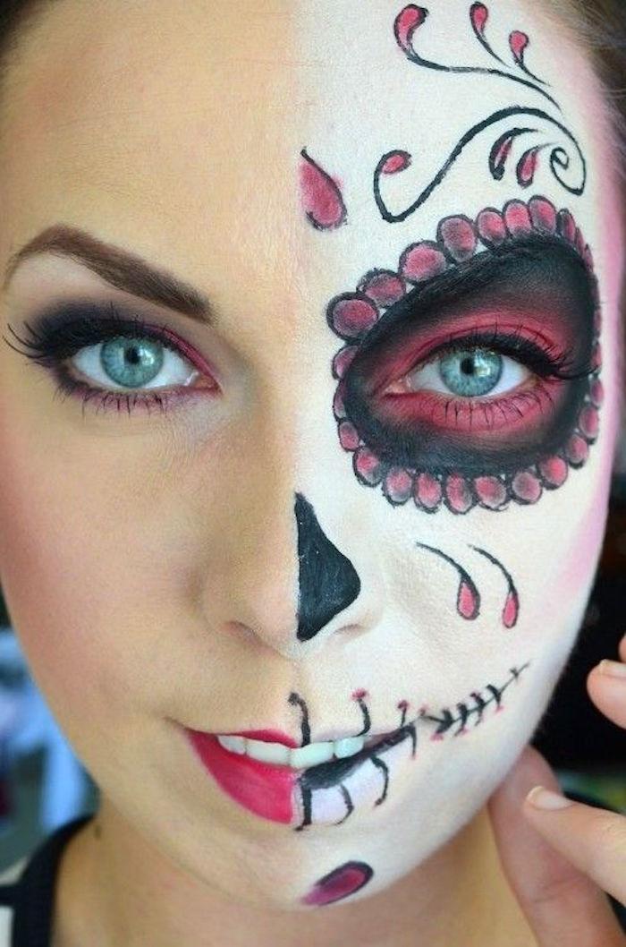 Maquillage tte de mort mexicaine facile cool maquillage halloween plus de pour le visage et les - Maquillage halloween moitie visage ...