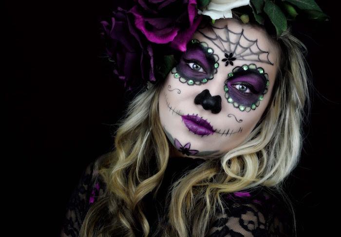 cranes mexicains tetes de mort mexicaine maquillage fete mexico