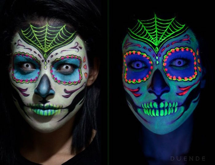 maquillage tete de mort fluorescent couleurs squelette femme
