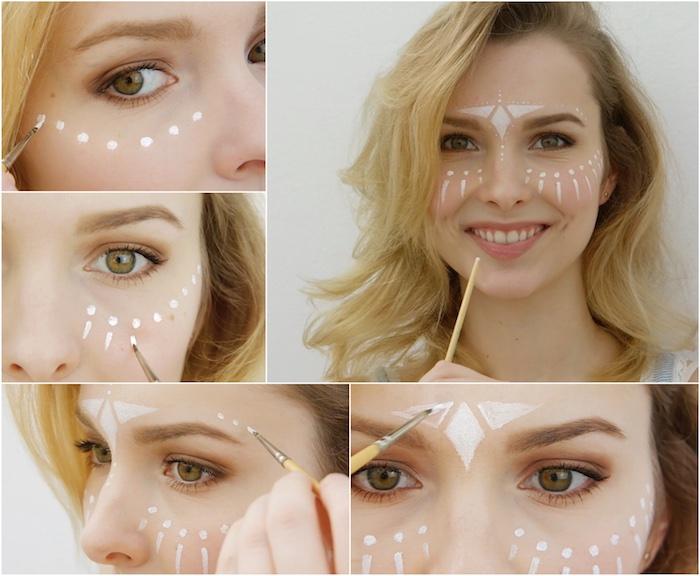 deguisement femme hippie, tutoriel maquillage festif, dessin avec outils de peinture sur le visage, motifs diamant