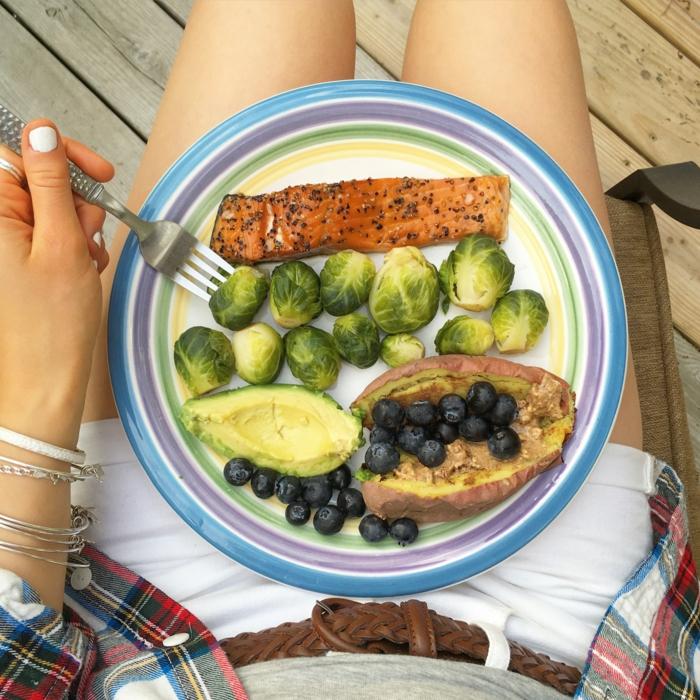 comment manger équilibré, manger sainement, avocat, poisson, repas équilibré, menu femme, fourchette en argent