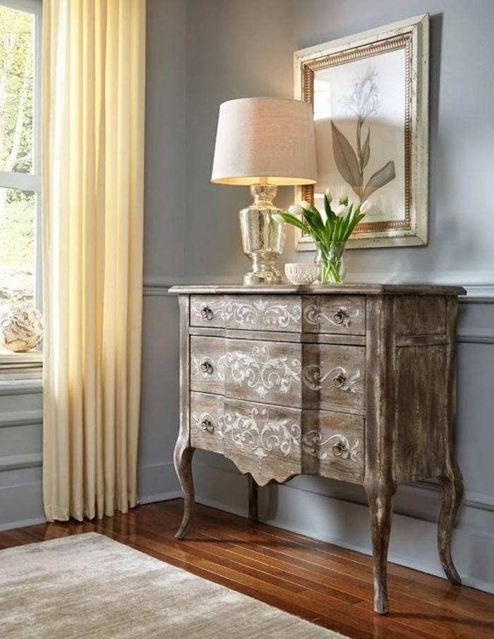 meubles baroques buffet avec lampadaire pour l'entrée en couleur taupe
