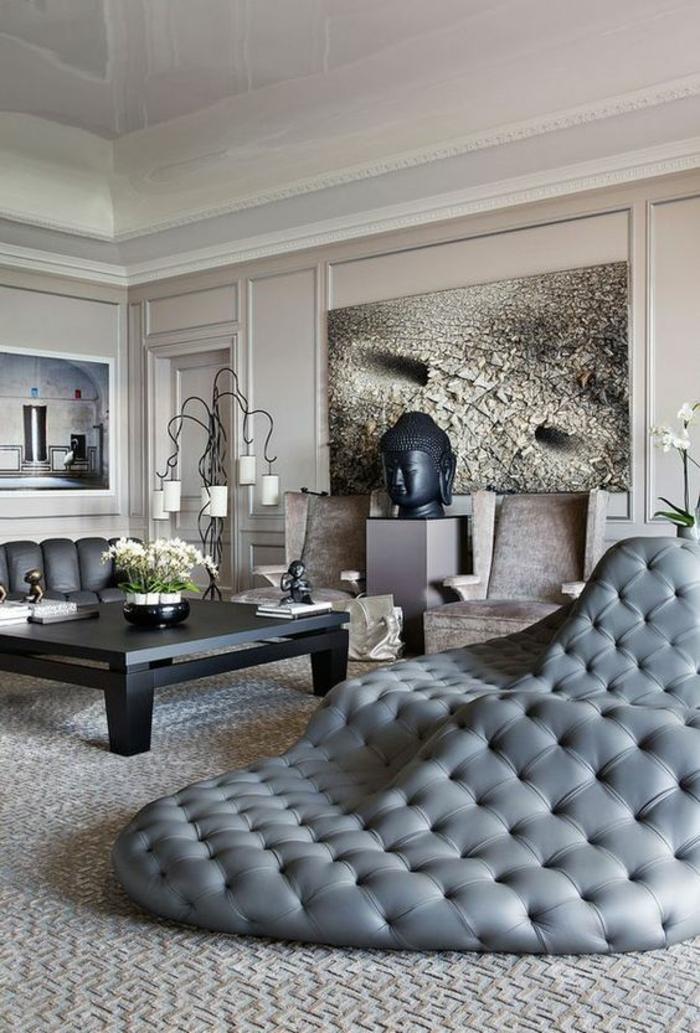 baroque meuble en gris clair effet matelassé grande surface pour s asseoir et pour se coucher
