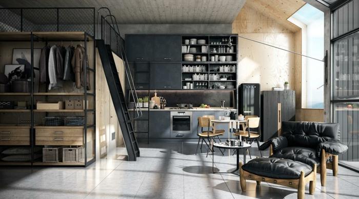 deco industrielle, table basse en verre et fer forgé, commode de cuisine noire, chaises en bois, vestes, murs gris