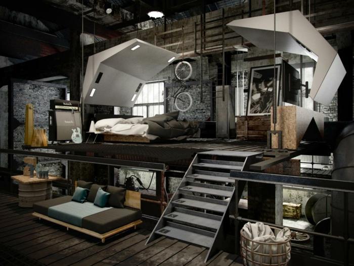 idee deco industrielle, canapé en palette, murs en briques, vélo décoratif, pipes apparents, meuble industriel
