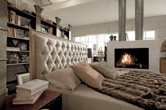 idee deco industrielle, tête de lit boutonnée, couverture faux fur, murs blancs, plafond blanc, meuble noir et bois