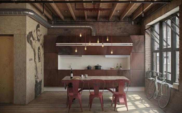 idee deco industrielle, casserole noire, décoration murale, pipes apparents, vélo, murs en briques, commode en bois