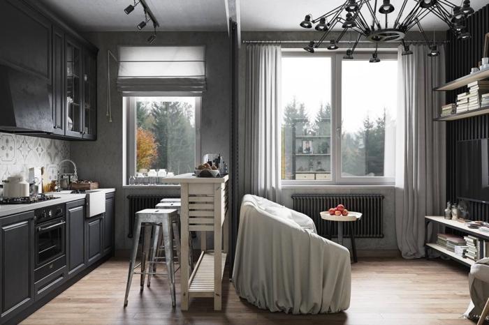 idee deco industrielle, cuisine grise, commode grise foncée, rideaux longs, tabouret de bar, étagère en bois