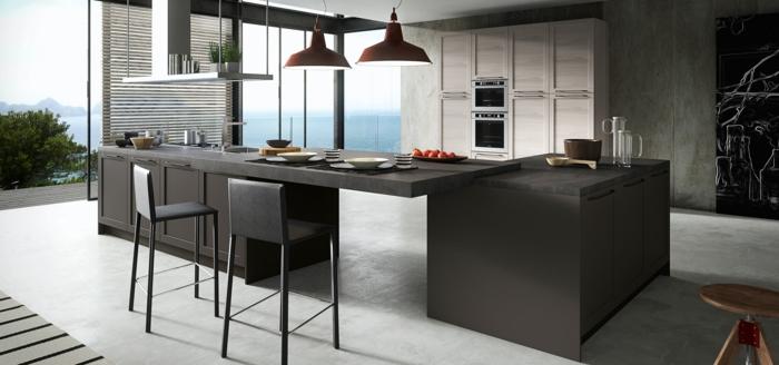 decoration industrielle, cuisine moderne, îlot centrale noir, carrelage blanc, lampes suspendues, stores, tabouret en bois
