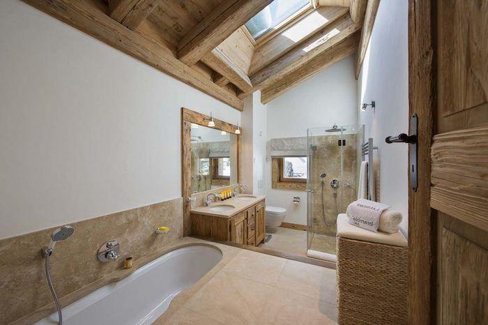 1001 mod les pharamineux de la salle de bain moderne - Plafond bois salle de bain ...