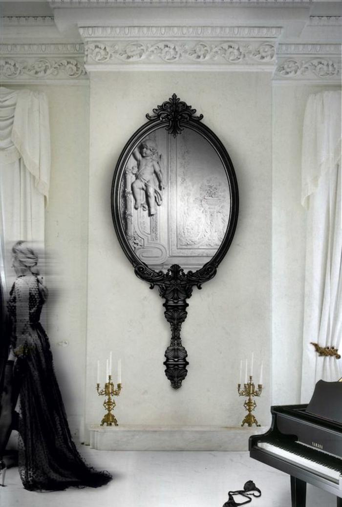meubles baroque miroir de coiffeuse en grande taille pour le mur au cadre noir