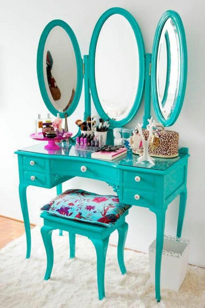 baroque mobilier coiffeuse en bleu turquoise miroir avec trois parties et cinq tiroirs