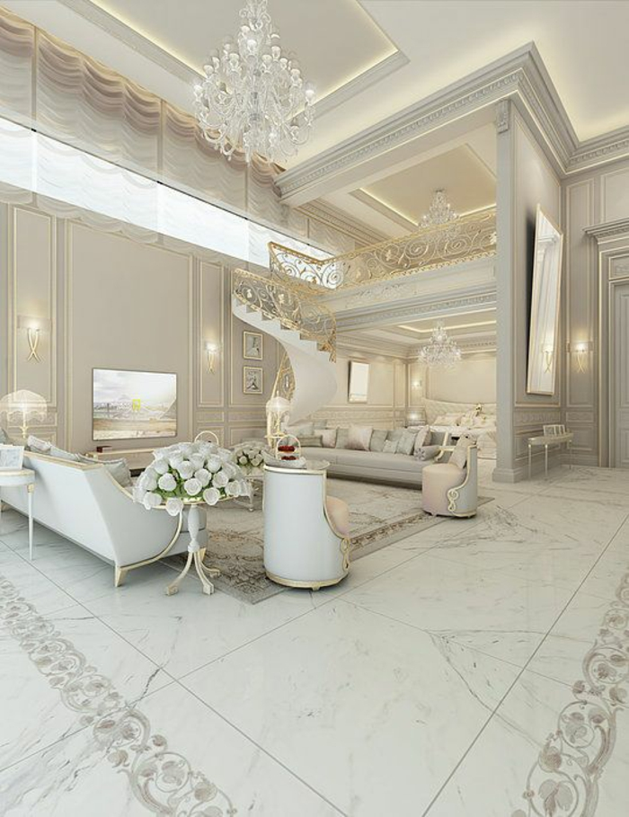 baroque mobilier en blanc fauteuils en forme ronde lustre à pampilles en crystal
