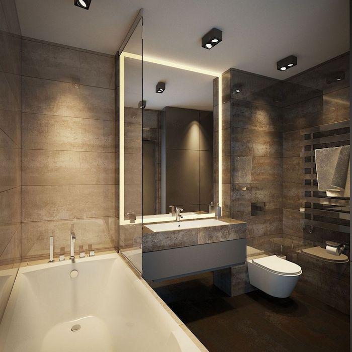 salle de bain moderne, dallage marron, miroir rectangulaire, porte-serviette métallique, grand miroir