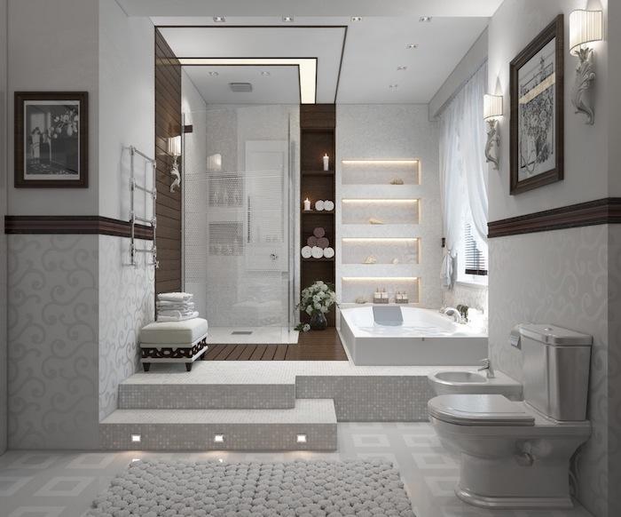 salle de bain design, photo blanc et noir, éclairage led, serviette de bain blanche, cabine de douche
