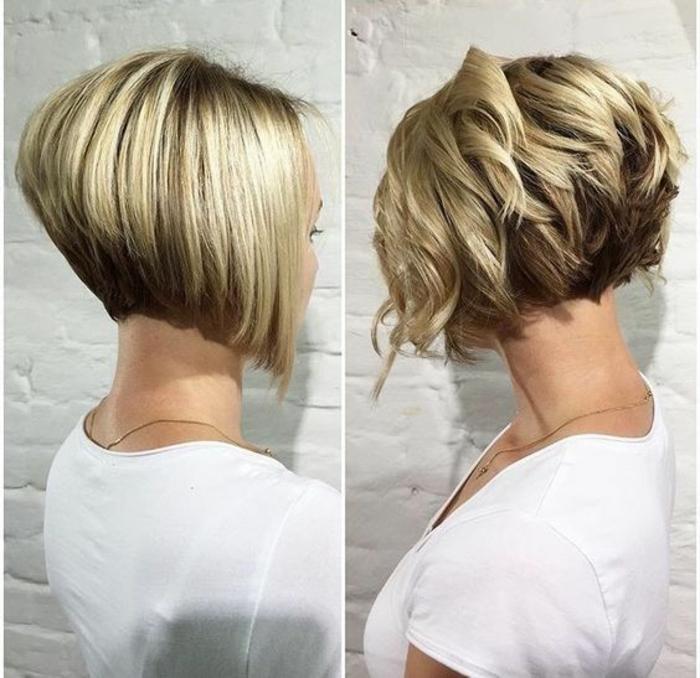 coiffure femme en deux versions lisse et avec ondulations une coupe deux variantes quotidienne et festive
