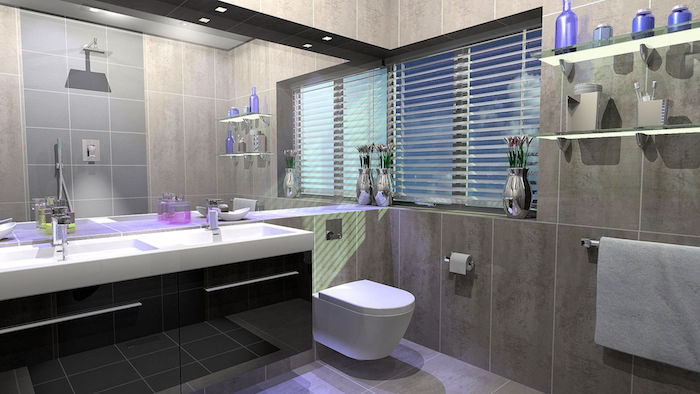 salle de bain design, cuvette wc suspendue, meubles sous vasque noirs, dallage gris, vase métallique