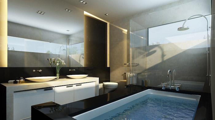salle de bain design, bouquet de fleurs, lavabo céramique, comptoir marbre, plafond blanc