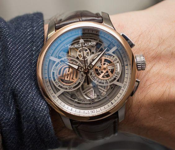 idée de montre originale squelette avec un mécanisme apparent, accessoire homme intéressant