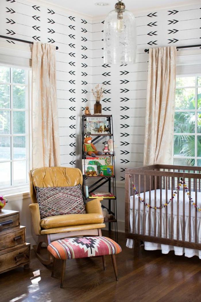 motifs azteques, chambre d'enfant originale, lit bébé, papier peint motif aztèque