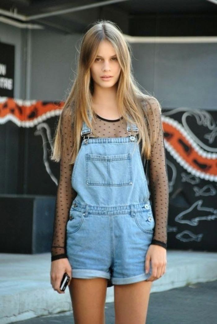 Cool idée tenue salopette femme salopette jean tendance salopette jean short