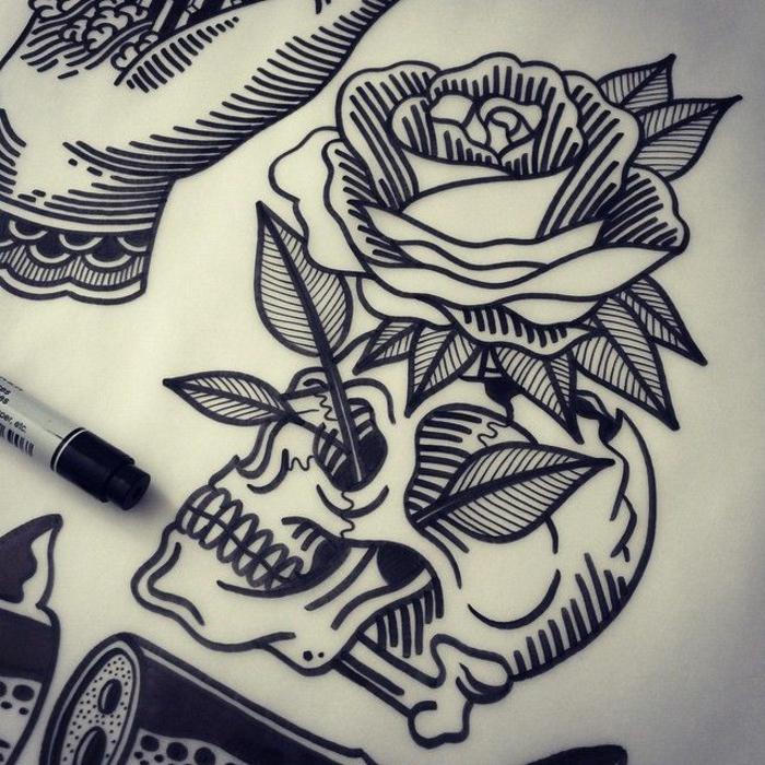 Dessin Tatouage Crane Et Rose Tuer Auf