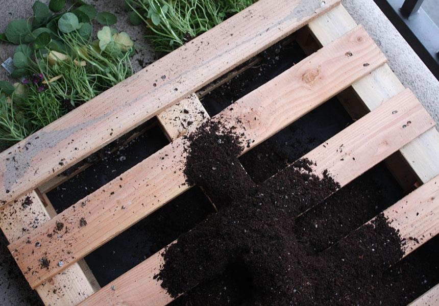 idée comment fabriquer une jardiniere palette, comment planter des fleurs dans les interstices entre les lattes en bois