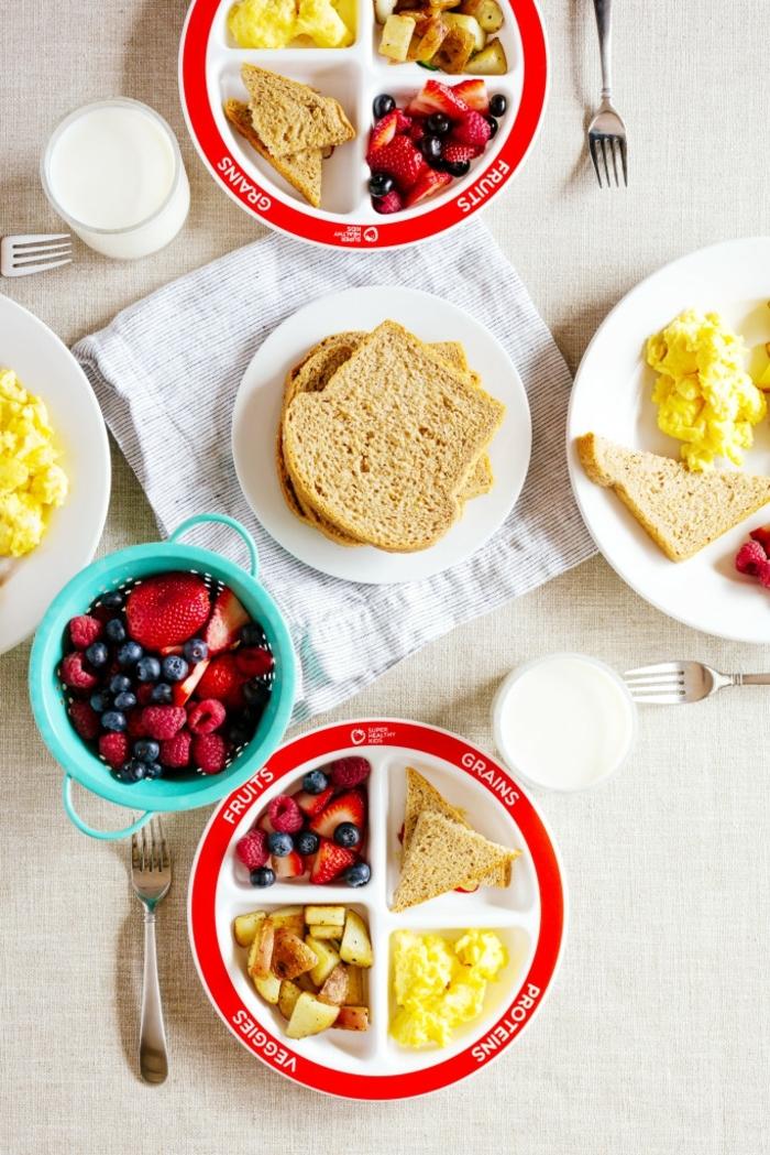 manger sainement, bol turquoise, assiette en proportions, salade aux fruits, menu équilibré, produit laitier