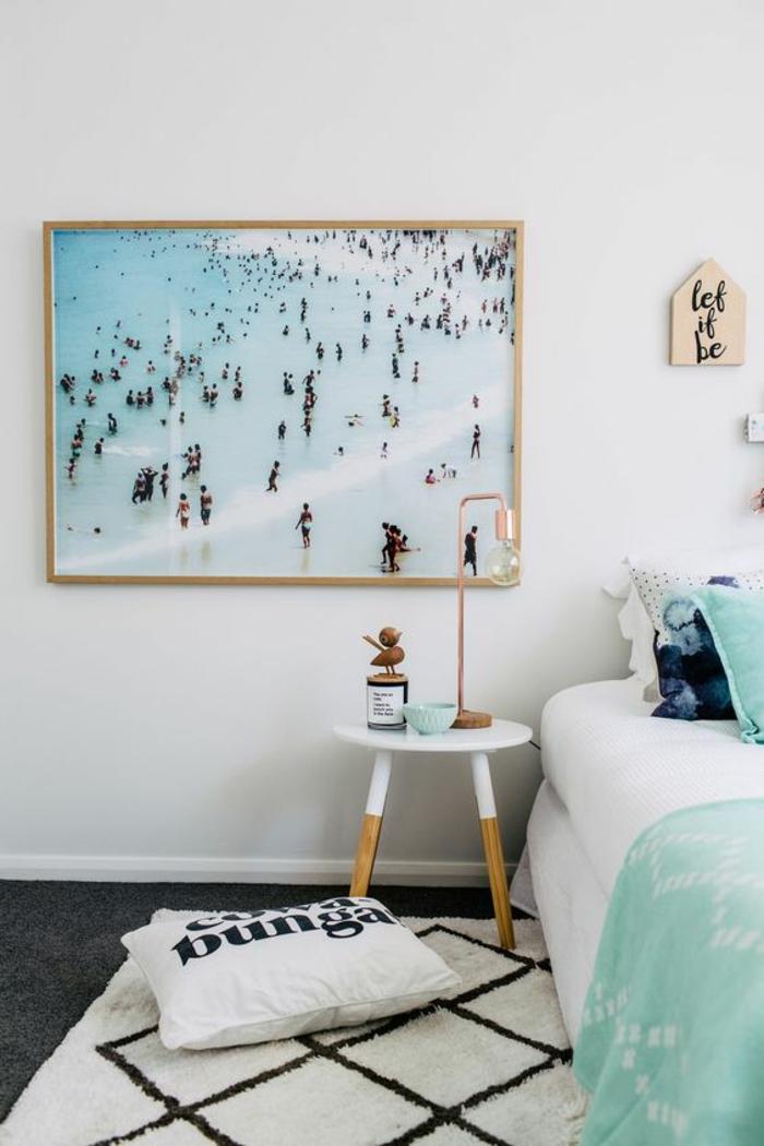 comment adopter le poster xxl dans son intérieur, décoration murale artistique, chambre à coucher en blanc et vert menthe