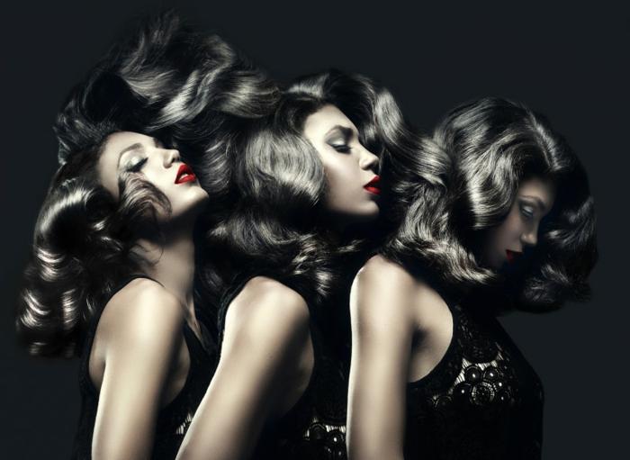 comment choisir sa couleur de cheveux, lèvres rouge, robe en dentelle noire, cheveux brillants, idée couleur cheveux