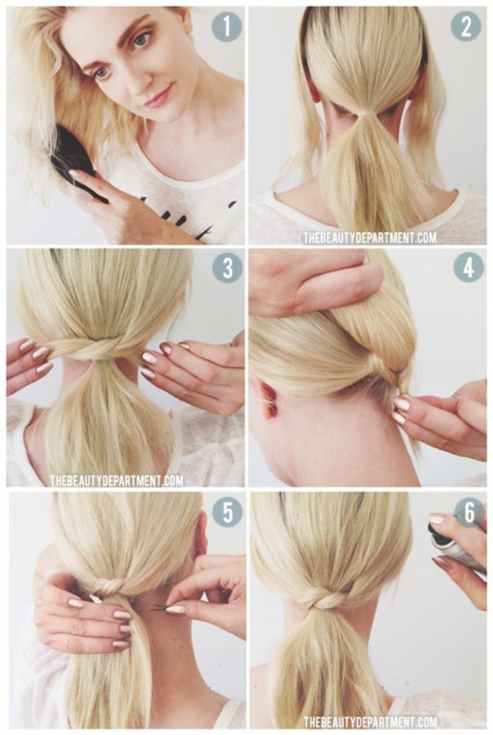 queu de cheval cheveux blonds, les étapes à suivre pour un ponytail noué original