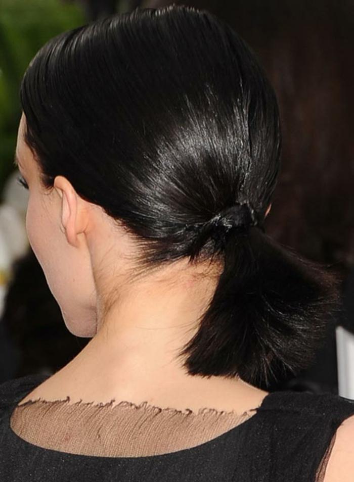 queue de cheval cheveux noirs, coiffure élégante sur cheveux lumineux noirs