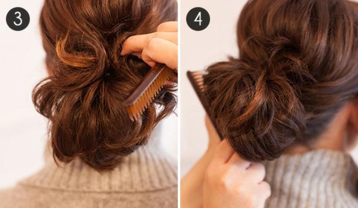 queue de cheval pour cheveux courts, coiffure faite avec un élastique et deux pinces
