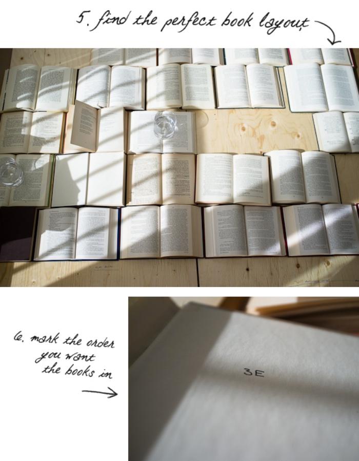 idée comment ranger les livres sur les planches en bois pour fabriquer une tete de lit originale soi meme