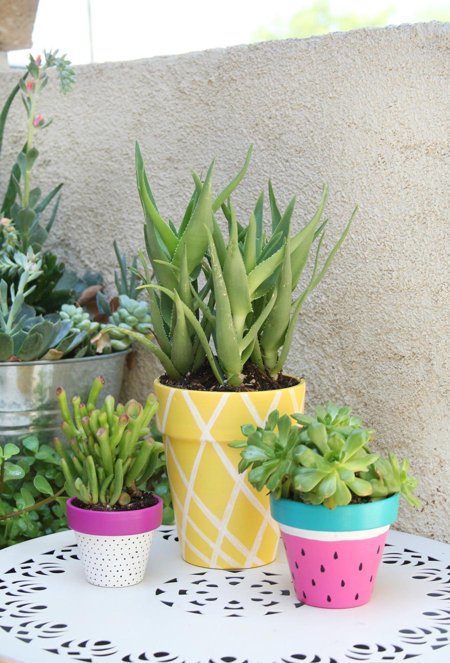 idée comment fabriquer un diy pot de fleur soi meme, pots en terre cuite, repeints de couleurs diverses et motifs fruits de tropicaux, pasteque, ananas, fruit du dragon, deco exterieur