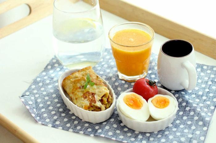 comment manger équilibré, ouefs, tomates, tasse de café, jus d'orange, manger sainement
