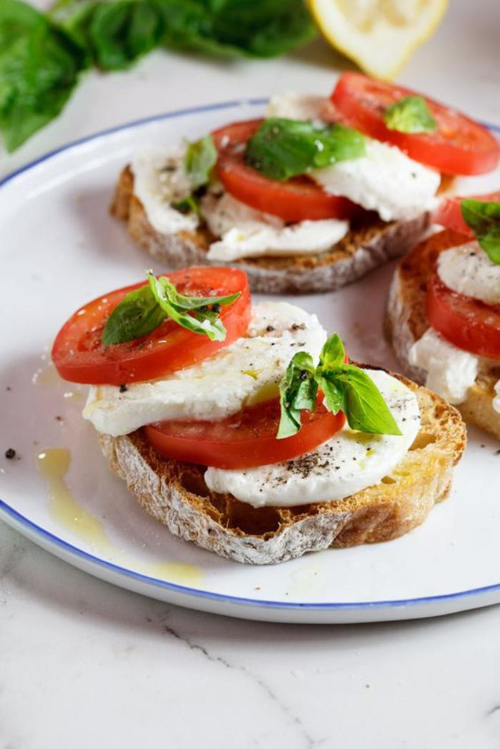 de la salade caprese servie en bruschettas de pain de campagne grillé, tartine italienne classique à la mozzarella, tomate et au basilic