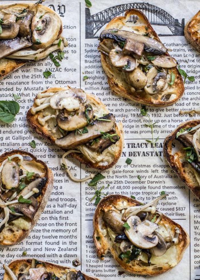 des bruschettas de campagne aux champignons sautés, recettes faciles pour un apéro gourmand