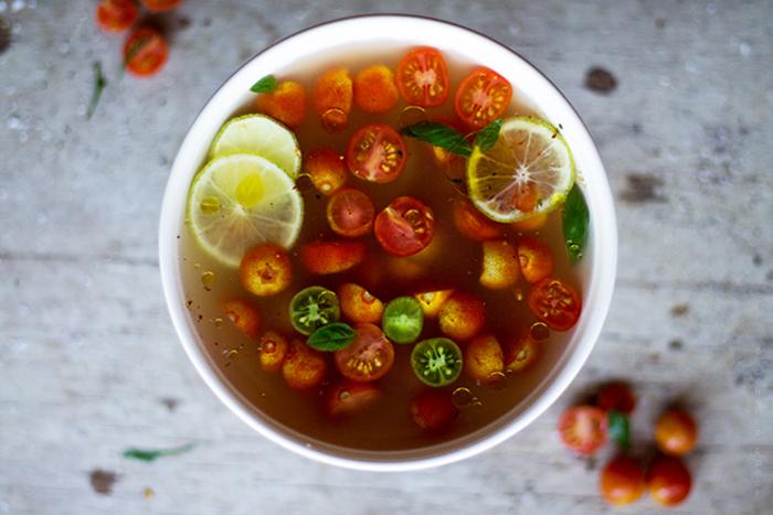 comment préparer une recette gaspacho façon consommé de tomates cerises
