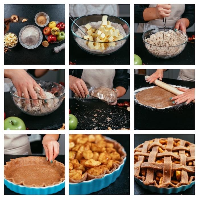 repas équilibré à faire avec des pommes et pâte sans gluten à la cannelle et caramel