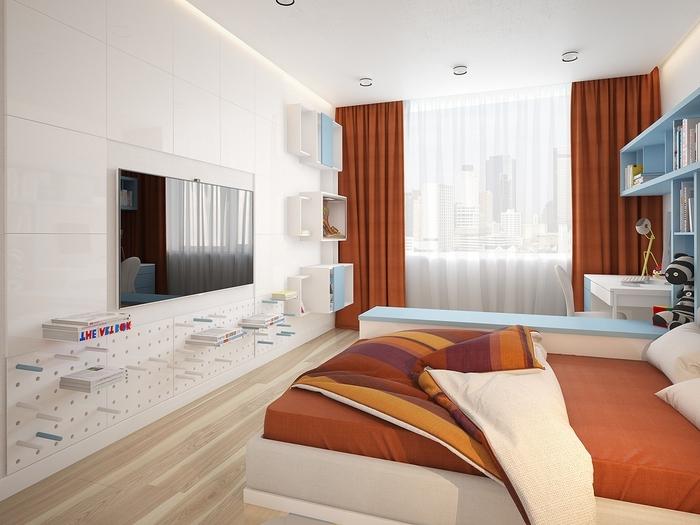 une chambre d'enfant aux design épuré en blanc, bleu pastel et couleur sienne, des rideaux couleur rouille, une bibliothèque originale de style minimaliste
