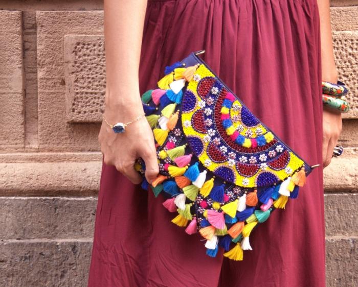 Beau sac à main femme pochette cuir femme accessoire joli tribal pochette