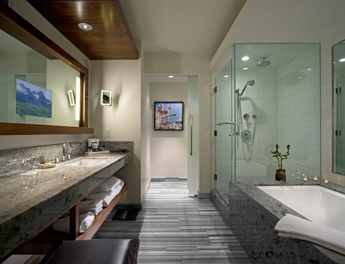 deco salle de bain, cabine de douche, serviette blanche, peintures, plante verte, comptoir marbre